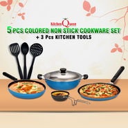 5 Pcs Colored Non Stick Cookware Set + 3 Pcs Kitchen Tools