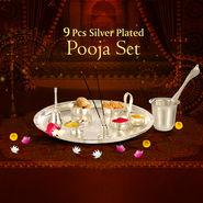 9 Pcs Silver Plated Pooja Set