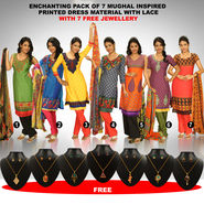 Enchanting Pack of 7 Mughal Inspired Printed Dress Material with Lace (7PDM2) with 7 Free Jewellery