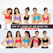 Eva's Secrets Pack of 5 Padded or Non Padded Bra - Pick Any One Combo