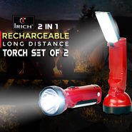 Irich 2 in 1 Rechargeable Long Distance Torch - Set of 2