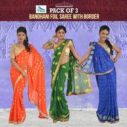Pack of 3 Assoretd Bandhani Saree with Zari Border by Pakhi (3BFS1)