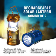 Rechargeable Solar Lantern Combo of 2