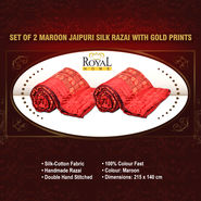 Set of 2 Maroon Jaipuri Silk Razai with Gold Prints