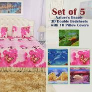 Set of 5 - Nature's Beauty 3D Double Bedsheets with 10 Pillow Covers (5BS28)
