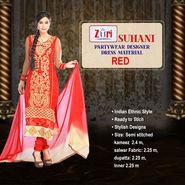 Suhani Partywear Designer Dress Material by Zuri (DDM1) - Red