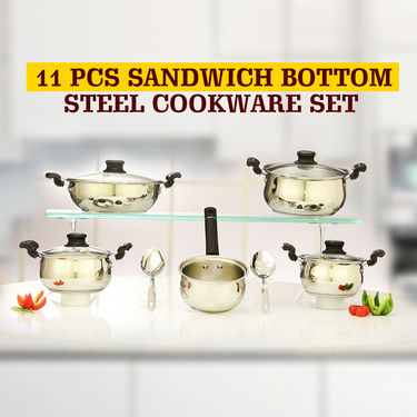 11 Pcs Sandwich Bottom Steel Cookware Set