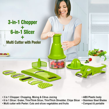 3-in-1 Chopper + 6-in-1 Slicer + Multi Cutter with Peeler