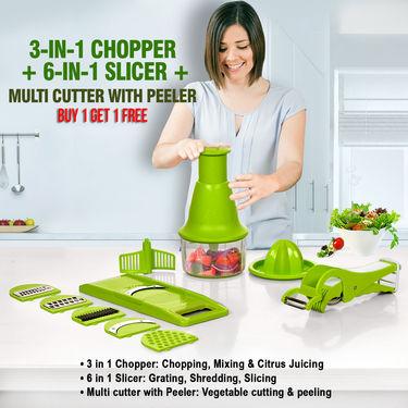 3-in-1 Chopper + 6-in-1 Slicer + Multi Cutter with Peeler - Buy 1 Get 1 Free