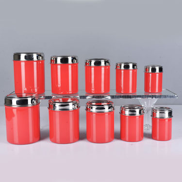 34 Pcs Colored See Through Steel Storage Set