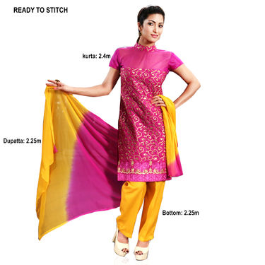 Advita Set of 3 Embroidered Partywear Dress Material by Zuri (3LDM1)