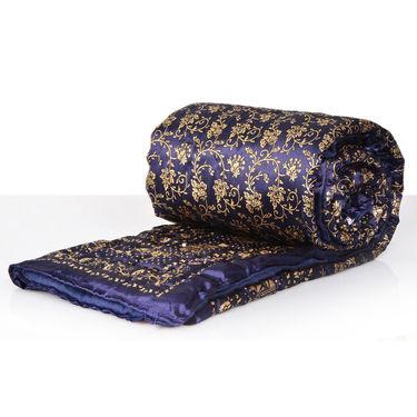Blue Jaipuri Silk Razai with Gold Prints