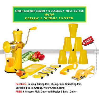 Juicer & Slicer Combo + 6 Glasses + Multi Cutter with Peeler + Spiral Cutter