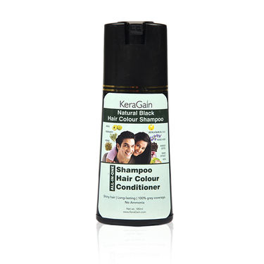 KeraGain Instant Natural Black Hair Color Shampoo with 10-in-1 Hair Serum Spray