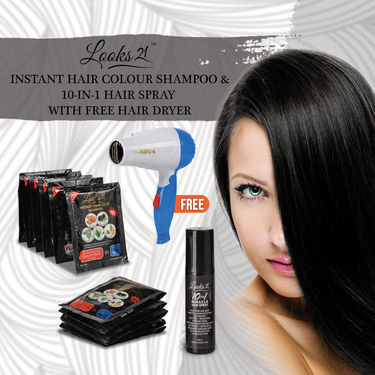 Looks21 Instant Hair Colour Shampoo & 10-in-1 Hair Spray with Free Hair Dryer