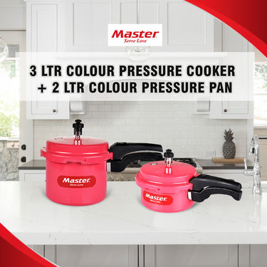 Master 3 Ltr Colour Pressure Cooker + 2 Ltr Colour Pressure Pan