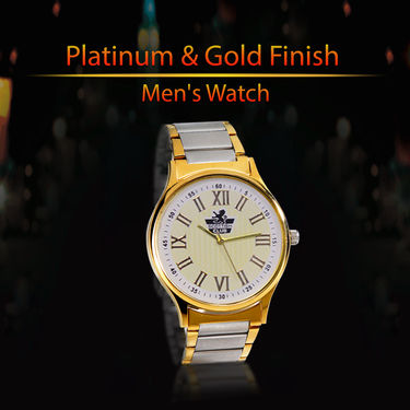 Platinum & Gold Finish Men's Watch