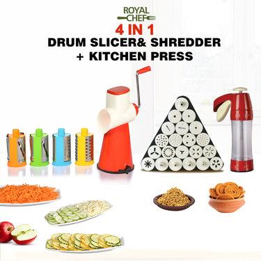 Royal Chef 4 in 1 Drum Slicer Shredder + Kitchen Press
