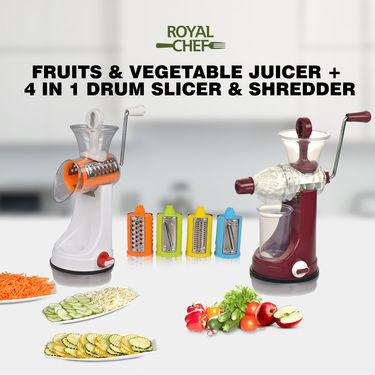 Royal Chef Fruits & Vegetable Juicer + 4 in 1 Drum Slicer & Shredder
