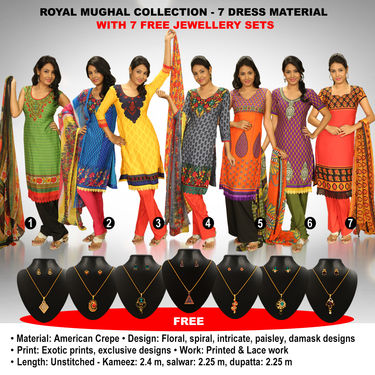 Royal Mughal Collection - 7 Dress Material + 7 Jewellery Sets (7PDM2)