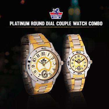 Scottish Club Platinum Round Dial Couple Watch Combo