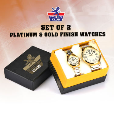 Set of 2 Platinum & Gold Finish Watches