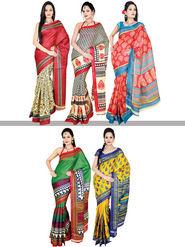 Amolika Classic Set of 5 Tussar Art Silk Sarees (5B1)
