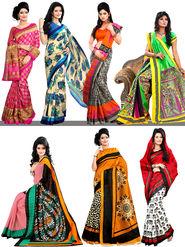 Ruma Set of 7 Art Silk Sarees by Varanga (7A7)
