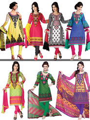Set of 7 Mughal Inspired Printed Dress Material with Lace (7PDM1) - AKSO